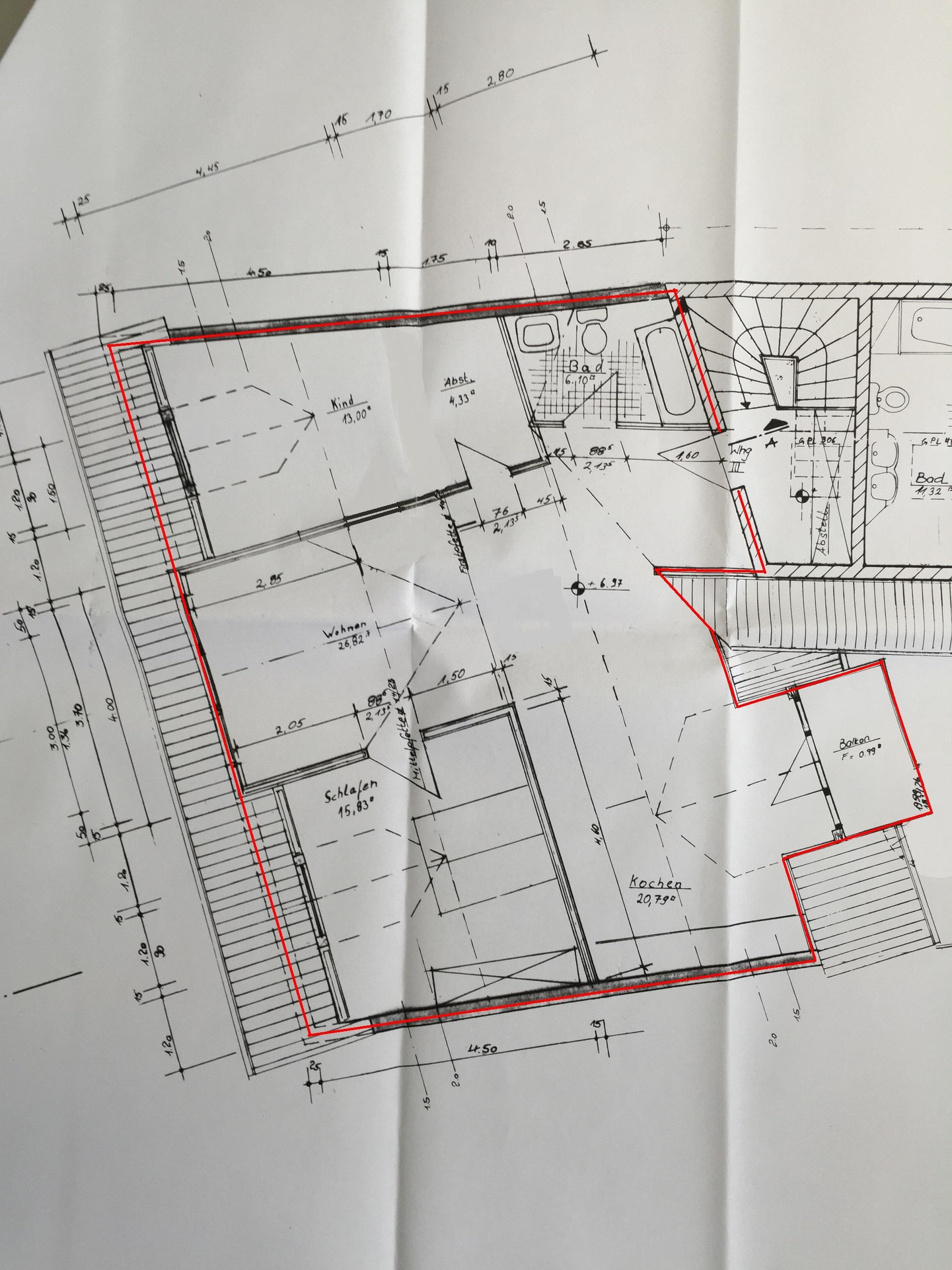 Grundriss Wilhelmstrasse 27 Dachgeschoss mit Spitzboden