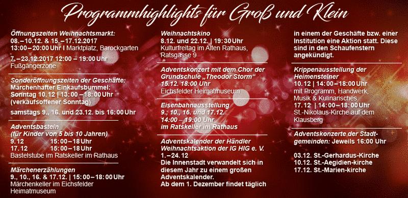 Weihnachtsprogramm 2017 Heiligenstadt