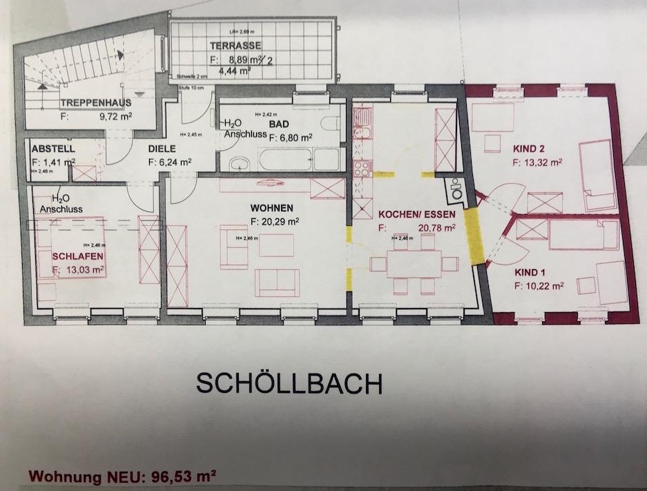 Grundriss 4-Raum Wohnung Schöllbach 1-5